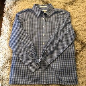 Orvis Blue and White Gingham Oxford Pinpoint Shirt